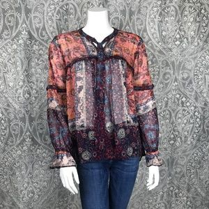 NWOT Knox Rose Boho Graphic Print Peasant Blouse L